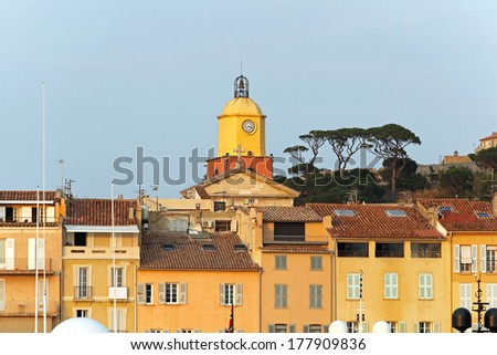 Clock and bell tower at church in Saint Tropez
