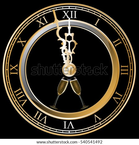 Clock and champagne glasses, black background