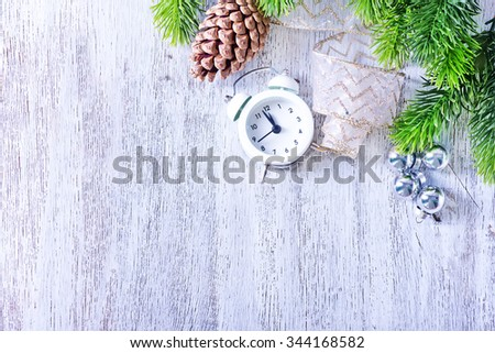 clock and christmas decoration - stock photo