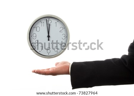 Clock and man's hand over white. Time for work concept - stock photo