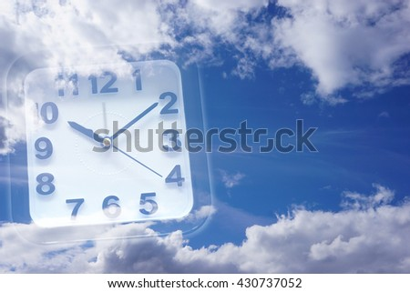 Clock and Sky with copy space - stock photo