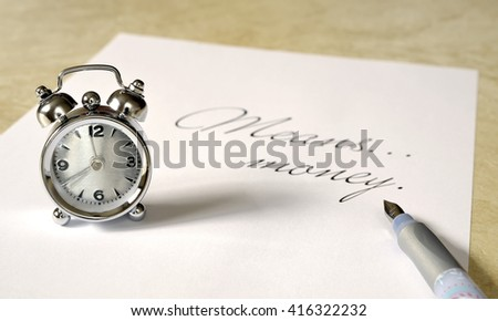 Clock  and time means money - stock photo