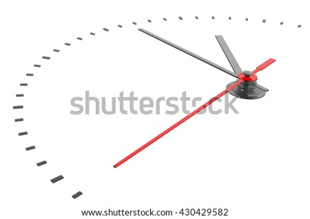 Clock and timestamp without numbers. Isolated. 3D illustration