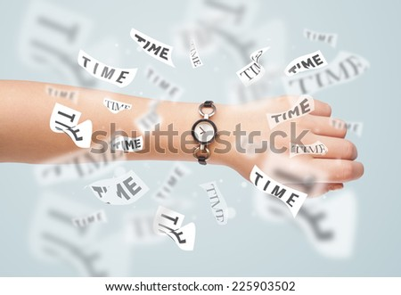 Clock and watch concept with time flying away on paper - stock photo