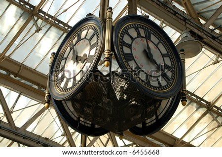 Clock at Waterloo train station, London - stock photo