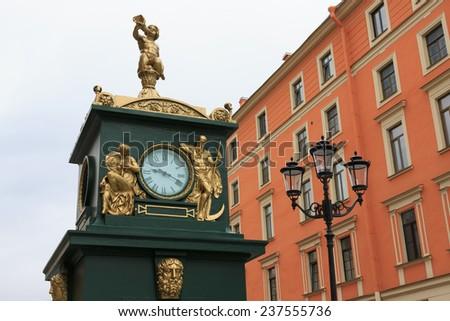 Clock-barometer. St. Petersburg - stock photo