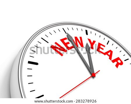 Clock containing the text New Year