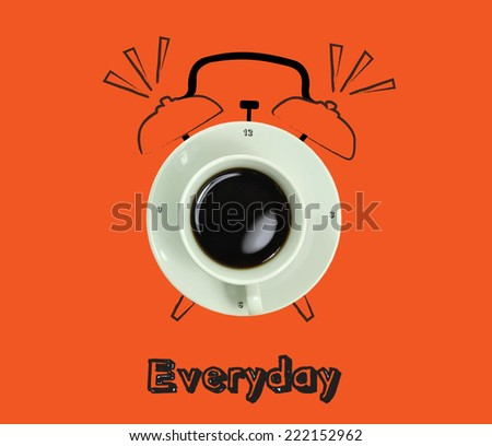 clock. cup of fresh espresso with clock sign, with orange background of the Everyday. - stock photo