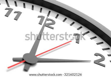 Clock detail view isolated on white  background - stock photo
