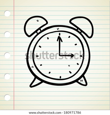 clock doodle - stock photo