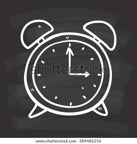 clock doodle on chalkboard background - stock photo
