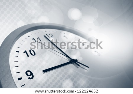 Clock face and abstract background - stock photo