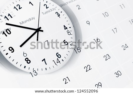 Clock face and calendar composite - stock photo