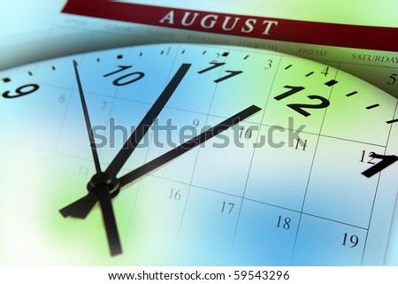 Clock face and calendar on color background - stock photo
