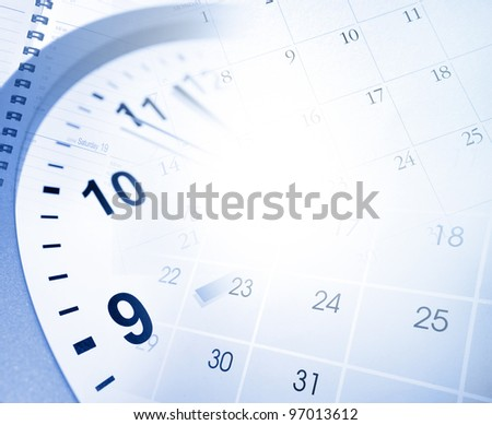 Clock face and calendar pages - stock photo