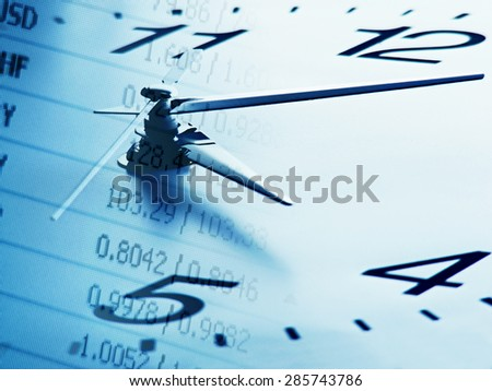 Clock face and stock data. Time is money concept. - stock photo