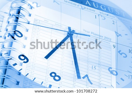 Clock face, diary and calendar page