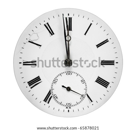 Clock face isolated on white background showing a minute to midnight - stock photo