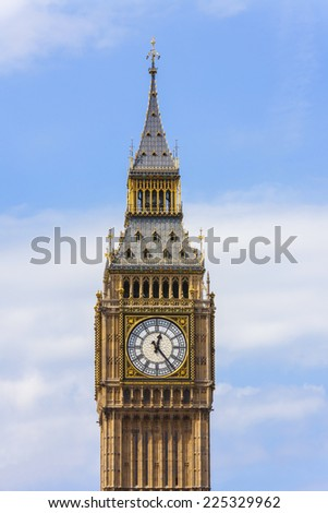 Clock face on the famous landmark clock tower known as Big Ben in London, England. Part of the Palace of Westminster also known as the Houses of Parliament