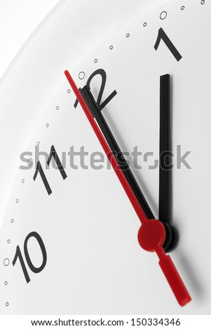 Clock face showing business working time on white background - stock photo