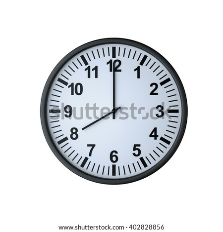 Clock face showing eight o'clock , isolated on white , 3d rendering - stock photo