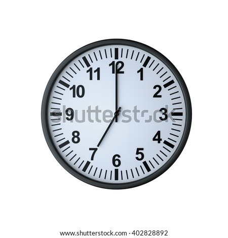 Clock face showing seven o'clock , isolated on white , 3d rendering - stock photo