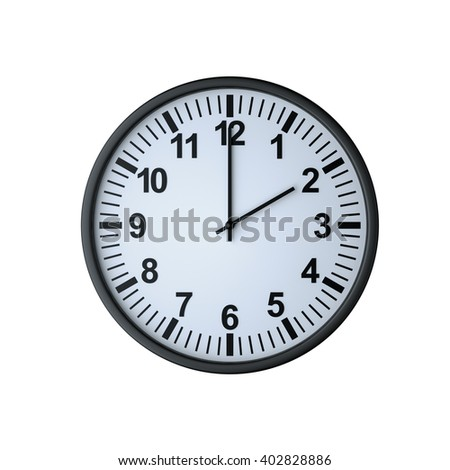 Clock face showing two o'clock , isolated on white , 3d rendering - stock photo