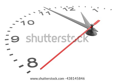 Clock face with numbers. Isolated 3D rendering on white background