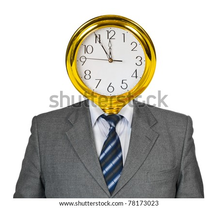Clock for head isolated on white background