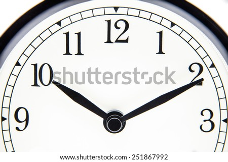 clock forefront with 10 hours and 10 minutes - stock photo