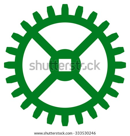 Clock Gear glyph icon. Style is flat symbol, green color, rounded angles, white background. - stock photo