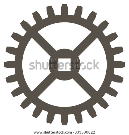 Clock Gear glyph icon. Style is flat symbol, grey color, rounded angles, white background. - stock photo