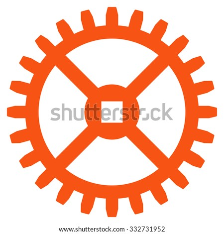 Clock Gear glyph icon. Style is flat symbol, orange color, rounded angles, white background. - stock photo