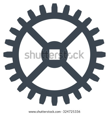Clock Gear illustration icon. Style is flat symbol, smooth blue color, rounded angles, white background. - stock photo