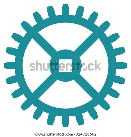 Clock Gear illustration icon. Style is flat symbol, soft blue color, rounded angles, white background. - stock photo