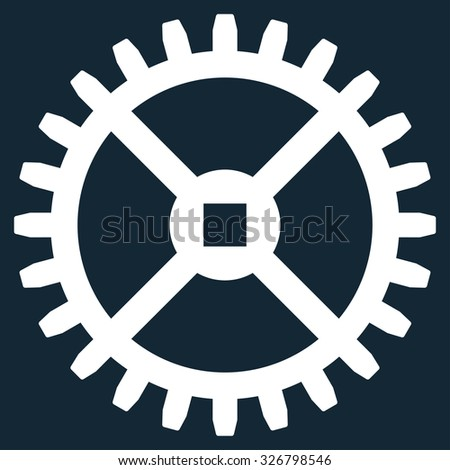 Clock Gear illustration icon. Style is flat symbol, white color, rounded angles, dark blue background. - stock photo