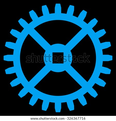 Clock Gear raster icon. Style is flat symbol, blue color, rounded angles, black background. - stock photo