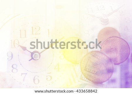 clock graph and banknote. Time is money concept - stock photo