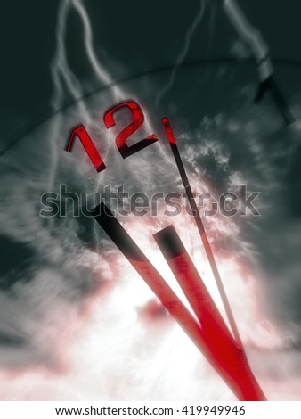 Clock hands with ominous sky with lightning strikes and red color splash