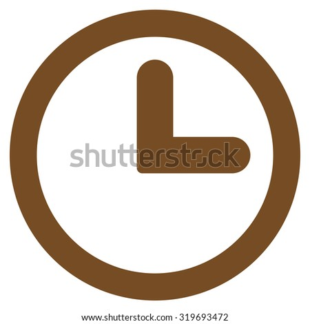 Clock icon from Primitive Set. This isolated flat symbol is drawn with brown color on a white background, angles are rounded. - stock photo