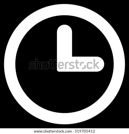 Clock icon from Primitive Set. This isolated flat symbol is drawn with white color on a black background, angles are rounded. - stock photo