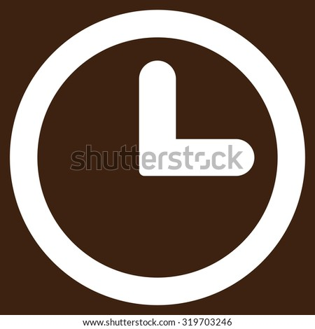 Clock icon from Primitive Set. This isolated flat symbol is drawn with white color on a brown background, angles are rounded. - stock photo