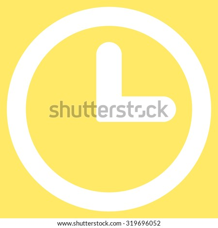 Clock icon from Primitive Set. This isolated flat symbol is drawn with white color on a yellow background, angles are rounded. - stock photo