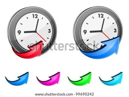 Clock icons and glossy arrow set for design. Vector version also available in gallery - stock photo