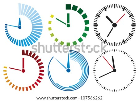 clock icons (clock set) - stock photo