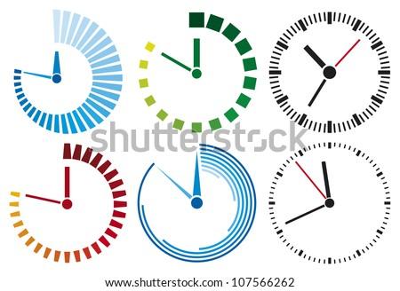 clock icons set - stock photo
