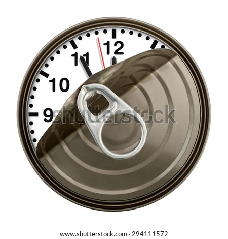 Clock in can shows five minutes to twelve. Time concept. - stock photo