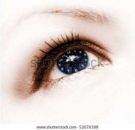 clock in eye - stock photo