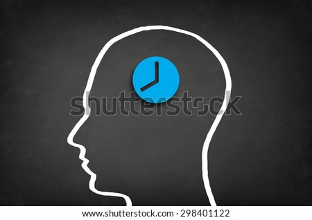 Clock in head. Time management concept. - stock photo