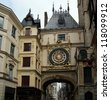 Clock in the Rue du Gros-Horloge, Rouen, Haute-Normandy, France - stock photo